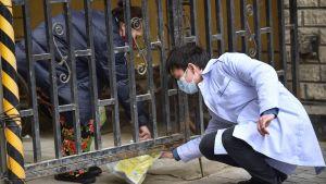 En man levererar ett paket med mediciner via en port till en invånare i ett hus i Wuhan.