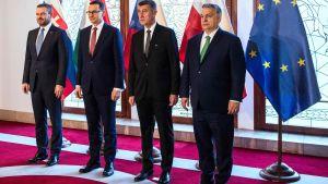 Premiärministrar: Viktor Orban (Ungern) Andrej Babis (Tjeckien)Mateusz Morawiecki (Polen) Peter Pellegrini (Slovakien)  inför Visegradgruppens möte om coronaviruset 4.3.2020