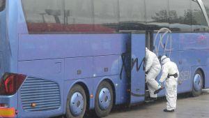 Rengöring av buss vid den tysk-tjeckiska gränsen 9.3.2020