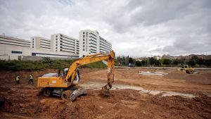 Här ska det byggas ertt fältsjukhus med plats för 500 patienter. Området ligger nära sjukhuset La Fe i Valencia. 23.3.2020