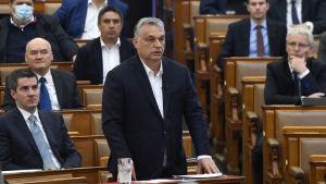 Viktor Orbán debatterar i parlamentet inför godkännandet av lagen  nödläge 30.3.2020