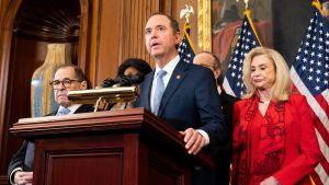 Kongressledamoten Adam Schiff som ledde riksrättsutredningen om Trump och Ukraina, fördömer presidenten i skarpa ordalag.