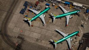 Tre boeing 737 Max-plan står parkerade utanför bolagets fabrik i Renton i delstaten Washington i USA