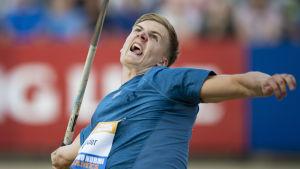 Oliver Helander kastar i Paavo Nurmi Games 2019.