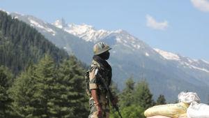 En soldat vid en vägspärr. I Bakgrunden syns väldiga snötäckta berg