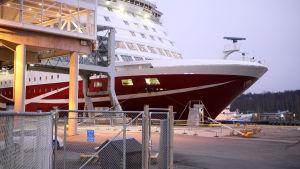 Viking Amorella, ett stort vitt och rött fartyg, står i Åbo hamn.