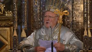 Den ekumeniska patriarken Bartholomeus I, andlig ledare för cirka 300 miljoner ortodoxa kristna i världen, med bas i Istanbul
