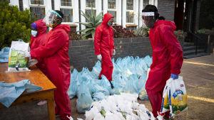 Sydafrika är det värst drabbade landet i Afrika med nära 10 000 avlidna och över en halv miljon smittade. Här delar frivilliga ut mat utanför en kyrka i Johannesburg.