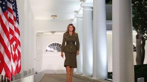 Melania Trump på väg att hålla sitt tal under Republikanernas konvent 25.8.2020