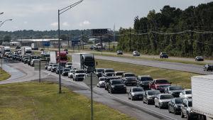 Motorvägar både i Texas och Louisiana har fyllts av folk i bilar som lyder myndigheternas evakueringsorder.