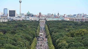 Ett demonstrationståg marscherar genom en park
