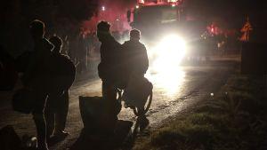 Fyra personer står i ljuset av lyktorna från en brandbil