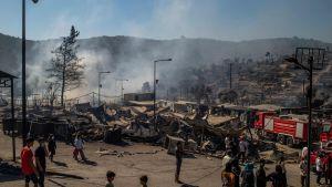 Det nedbrunna flyktinglägret Moria på Lesbos 9.9.2020