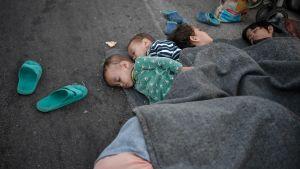 För andra natten i rad måste många sova under bar himmel på Lesbos.