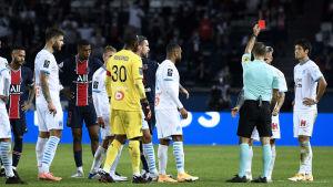 Fem röda kort i PSG- Marseille