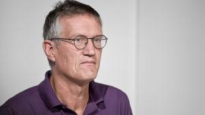 Sveriges stadsepidemiolog Anders Tegnell på en presskonferens.