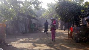Rohingyer i et interneringsläger i Sittwe i delstaten Rakhine i Myanmar 23.1.2020