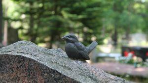 Bronsfågel på gravsten
