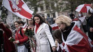 Svetlana Tichanovskaja i Köpenhamn, Danmark 23.10.2020 tillsammans med oppositionsanhängare