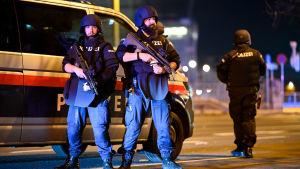 Bild på poliser vid polisbild i Wien.