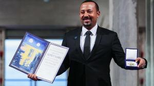 Etiopian pääministeri Abiy Ahmed vastaanotti vuoden 2019 rauhanpalkinnon Oslossa 10. joulukuuta 2019.
