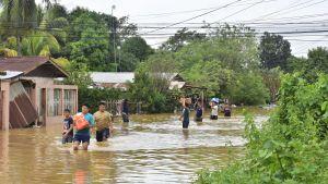Nicaragua och Honduras hade inte ännu återhämtat sig efter orkanen Eta då den ännu kraftigare orkanen Iota tog i land på tisdag. Bilden är från Honduras.