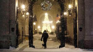 Newyorkilaismies ulkoilutti Manhattanilla koiraa keskiviikkona, kun lumisade oli alkamassa.