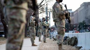 Nationalgardets soldater bevakar Capitol Hill