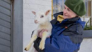 Leena Ingberg har ett hundratal får på Hinders gård i Täkter. Här med ett av dem i famnen.