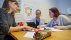 Erityisopettaja Anni Helotie sekä koulunkäynninohjaaja Petra Rantanen opastavat Mimosa Ruotsalaista