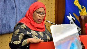 Tanzanias president Samia Suluhu Hassan talar 22.4.2021