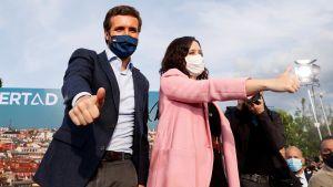 PP:s ledare Pablo Casado och PP:s ledare i Madrid Isable Díaz Ayuso