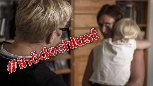 man och kvinna med barn diskuterar med #inödochlust-stämpel