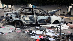 A burnt out car is seen following clashes between protesters and security forces in the central town of Sidi Bouzid, Tunisia, 28 October 2011. According to media sources, the announcement of the Ennahda party?s victory, which had been expected, was oversh