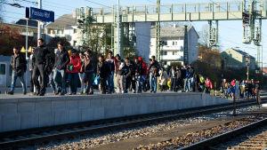 Flyktingar väntar på ett specialtåg från Passau till Köln den 2 november 2015.