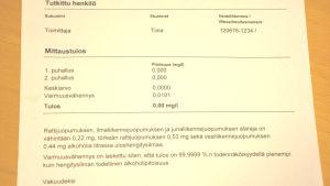 Dokument från det blåstestet på sjöbevakningens noggranna alkotest.