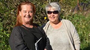 Minna Fabricius och Nina Fagerström jobbar frivilligt med asylsökande.