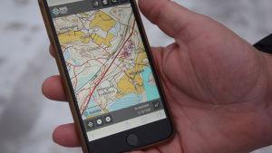 Karta i en mobiltelefon.