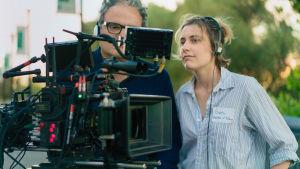 Sam Levy ja Greta Gerwig elokuvan Lady Bird (2017) kuvauksissa