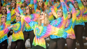 Publik i läktare på stafettkarnevalen 2017 klädda som hippies