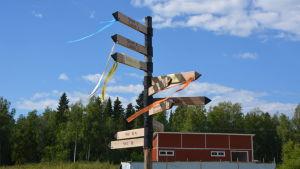Skyltar visar vart orienteringarna ska gå för att hitta starten i sin klass på Kvarkenträffen i Malax.