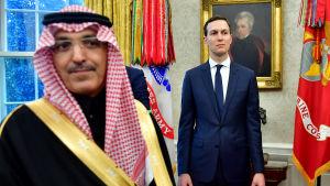 Jared Kushner i Ovala rummet, tillsammans med en medlem av den saudiska delegationen, under den saudiska kronprinsens USA-besök i mars 2018.