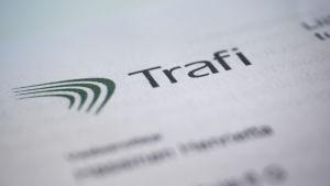 Trafiksäkerhetsverket Trafis logotyp och ordet Trafi på vit botten
