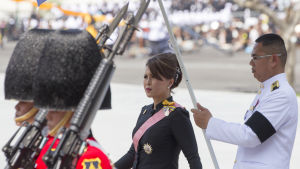 Prinsessan Ubolratana Rjakanya under en kunglig procession i samband med den gamla kungens begravning i oktober 2017.
