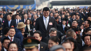 Den förre korgbollsstjärnan Yao Ming är en av över 2 000 ledamöter som deltar i den rådgivande församlingens möte som hålls samtidigt som den Nationella folkkongressen
