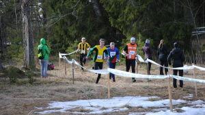Flera orienterare springer ut från skogen.