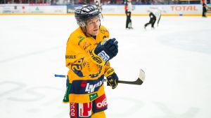 Ishockeyspelaren Janne Niskala firar mål.