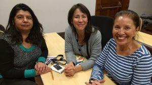 Paola Castilla, Pachi Bustos och Haydee Oberreuter på fimfestivalen i Toronto.