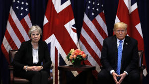 Storbritanniens premiärminister Theresa May och USA:s president Donald Trump under ett möte vid FN:s generalförsamling i New York den 26 september 2018.