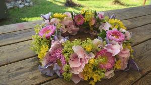 En blomsterkrans av gul allium, rosa hortensia, daggkåpa, lila klematis och rosa krysantemum.